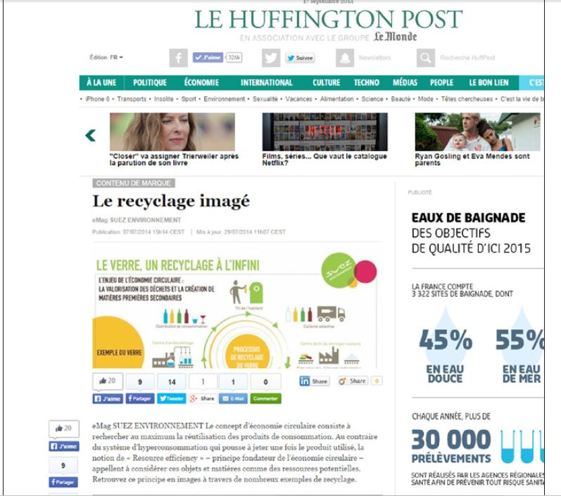 Page du Huffington Post financée par Suez Environnement